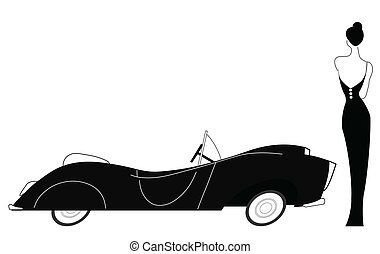 Vintage car and stylish lady isolated on white background