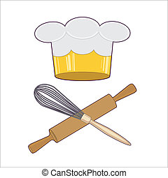 Chef emblem - Cooks hat with a symbolic crown and kitchen...