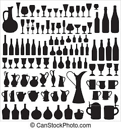 Wineware silhouettes - Different types of containers for...