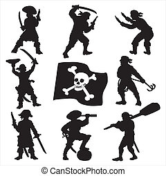 Pirates crew silhouettes set 1 - Eight pirates silhouettes...