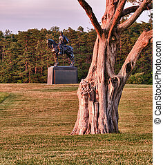 Stonewall Jackson at Manassas Battlefield - Sunset view of...