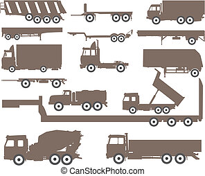 Trucks and trailers - The vector image of silhouettes of...