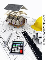 House Construction - Concept of designing, calculating...