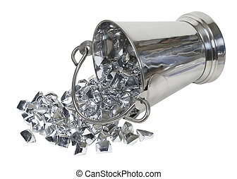 Ice Bucket Filled with Silver Precious Stones