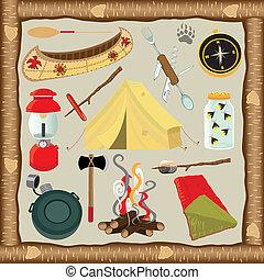 acampamento, ícones, elementos