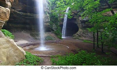 Tonti Canyon Falls - Illinois - Twin waterfalls crash into...