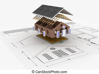 House Construction - Conceptual image about building a house...