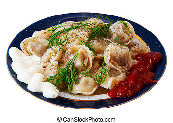 The pelmeni isolated on a white background