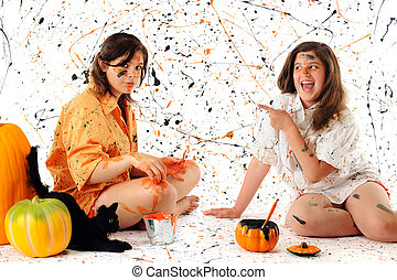 Messy Halloween - A teen and preteen making a halloween mess...