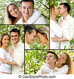Couple in park - Collage of young couple enjoying themselves...
