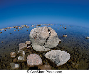 Lake Huron with stones - Historic stones in Lake Huron,...
