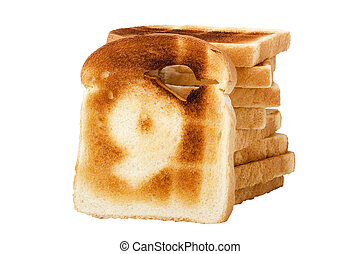 Number 9 burnt on a slice of white bread isolated on a white...