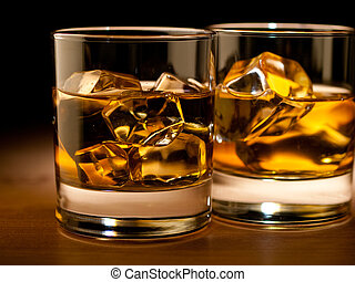 Whiskey  - whiskey on the rocks, vibrant colors