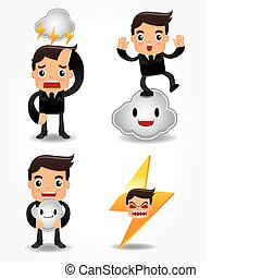 funny cartoon office worker with weather element icon set