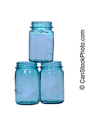 Three blue canning jars isolated on white