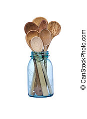 Wooden spoons in a blue canning jar - isolated on white