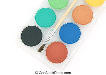 New watercolours and a brush - New watercolours for painting...