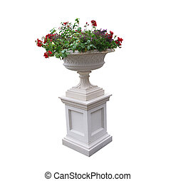 Pedestal with urn and plants - A white pedestal with an urn...