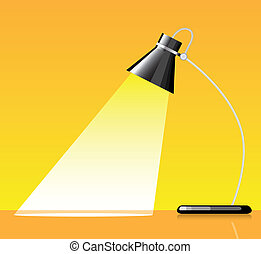 desk lamp with a yellow background, with a empty space under...
