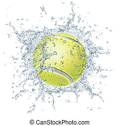 Tennis Ball in Water Isolated on White Background. 2D...