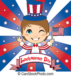 Independence Day - Kid celebrating United States of America...
