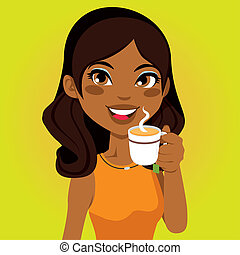 Cup of Herbal Infusion - Portrait of a pretty African woman...