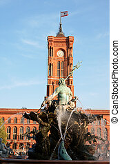 Rathaus and Neptune Fountain in Berlin - Tower of Rathaus...
