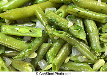 Cooked green beans bush beans with onions and parsley...