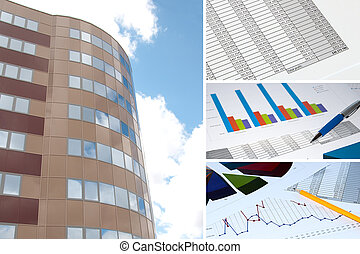 building and financial chart, business collage
