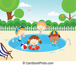 Kids In Swimming Pool - Cute kids having fun.