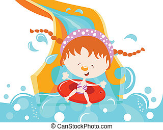 Girl Enjoying Water Slide - Girl on water slide.