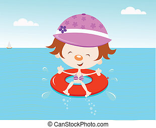Girl With Inner Tube - Girl having fun.