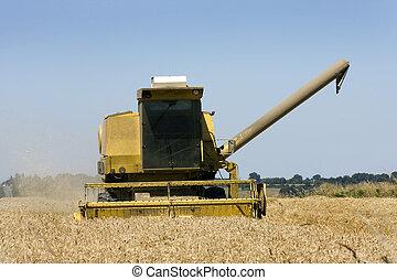 Combine harvester front view - Combine harvester preparing...