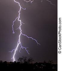 relámpago, tormenta, nightly, nublado, cielo, Plano...