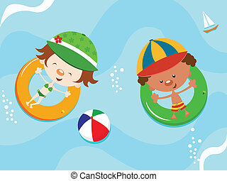 Kids floating with innertube - Cute kids having fun
