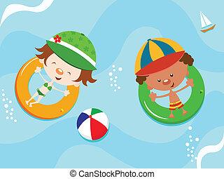 Kids floating with innertube