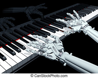 Computer music - Illustration of a robot playing a grand...