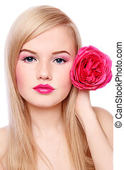 Blond girl with rose - Young beautiful blond girl with rose...