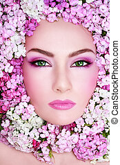Spring beauty - Portrait of beautiful woman with bright...