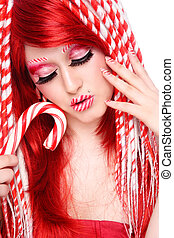 Candy cane - Beautiful young freaky girl with fancy make-up...