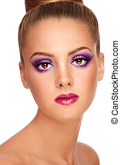 Violet make-up - Portrait of young beautiful blond girl with...