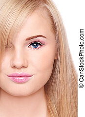 Pretty teen - Close-up portrait of young beautiful blond...