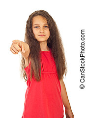Girl pointing to you - Serious girl pointing to you isolated...