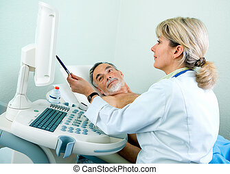 Ultasound - Senior patient getting ultrasound from doctor