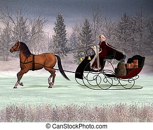 Santas Sleigh - Traditional Father Christmas in a horse...