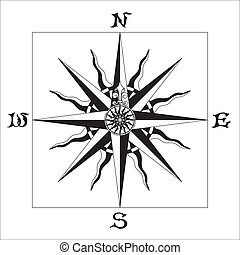 "WIND ROSE black & white - Old sign ""Wind rose"".Decorated..."