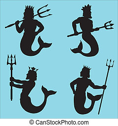 Neptune Silhouettes - Neptune - god of the sea.Four...