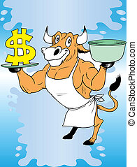 Cow and money - This is jolly cow with milk and money