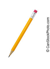 Short pencil isolated on white background