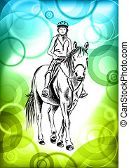 girl and horse - young girl on the horse